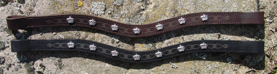 Stirnriemen Pure - Crown by K & Kressing, mit Niete, Muster, hochwertiges Leder schadstofffrei, handcrafted in Germany, passend zu HKM Silver Crown ba Glööckler