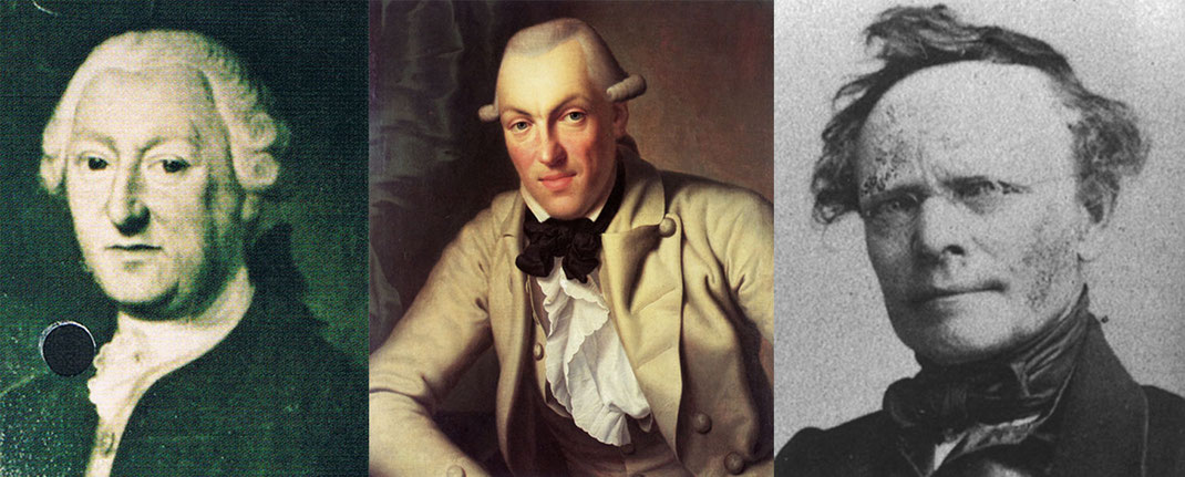 Von links nach rechts, Portraits von Johann Friedrich Bauder (1713-1791), Johann Heinrich Merck (1741-1791) und Johann Jakob Kaup (1803-1873). Quelle Wikipedia.
