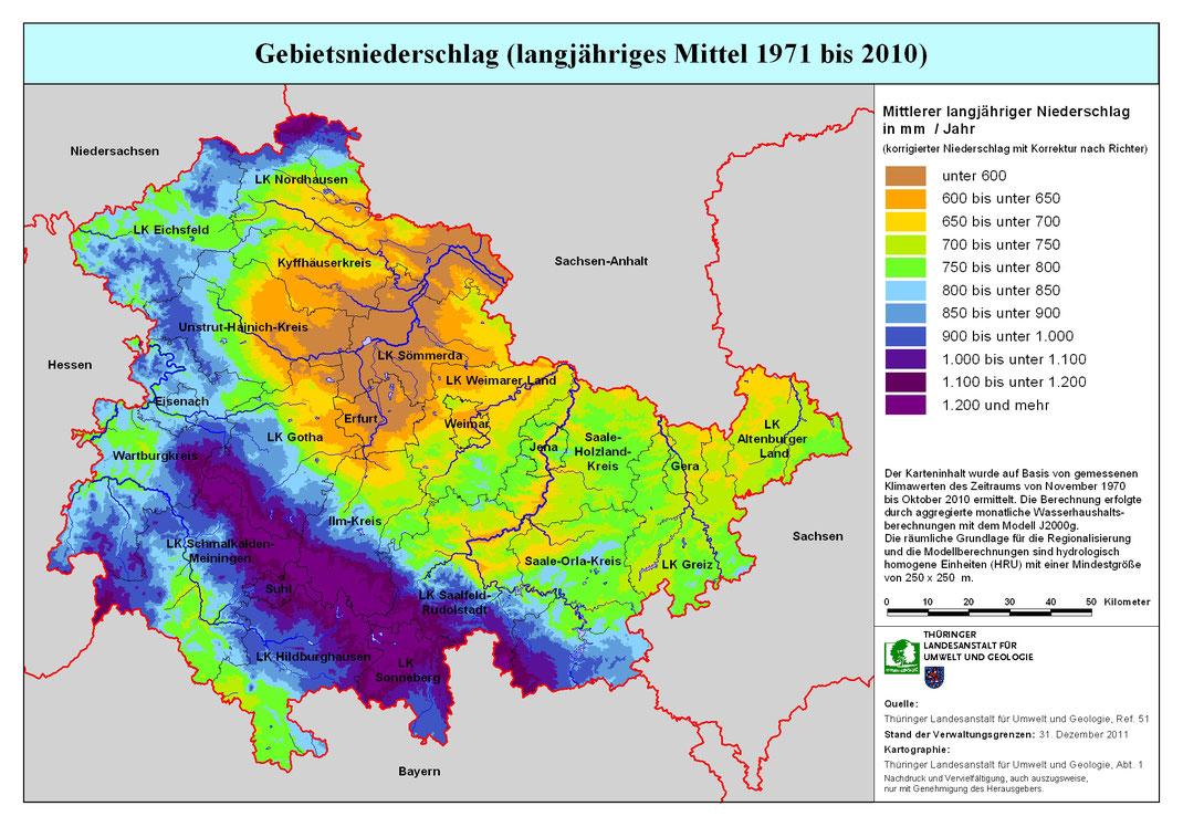 Niederschlag in Thüringen, www.tlug-jena.de