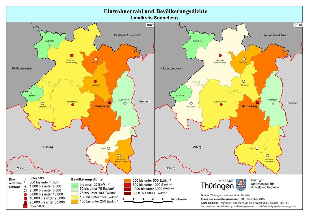 Einwohnerzahlen im LK Sonneberg, Quelle: tlug-jena.de