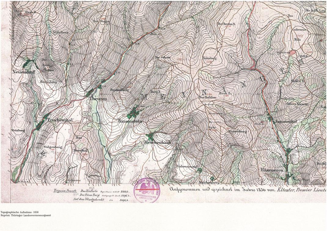 Hellgrün gefärbt sind die zahlreichen Wiesen zwischen Rauenstein, Hämmern, Steinach und Steinheid, Messtischblatt des Preuß. Generalstabes, 1856, Reprint: TLVerGeo