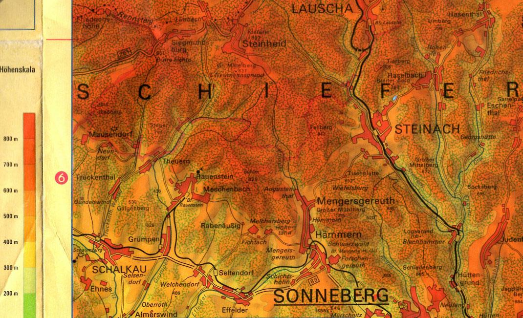 Physische Karte 1:100000 des Thür. Schiefergebirges, VEB H. Haack, Gotha