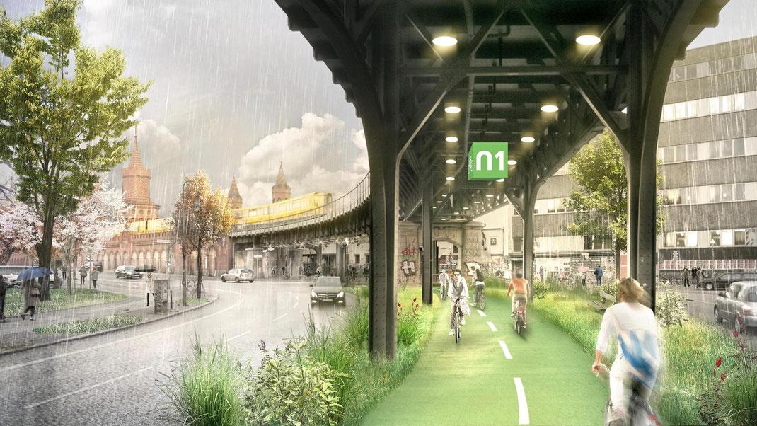 Alle Wetter. Auf der Radbahn könnte man auch bei Regen trocken durch die Stadt kommen.Simulation: Promo