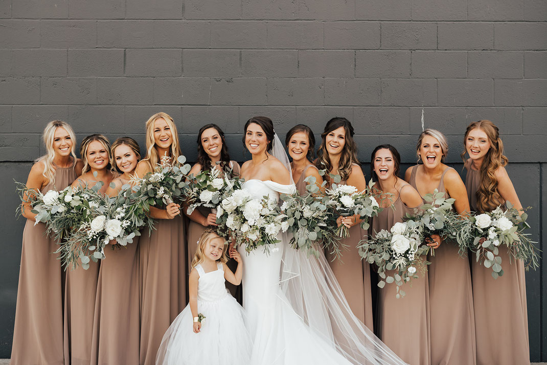 Seattle Wedding, Greenery Wedding, Eucalyptus Bridesmaid Bouquets, Foliage Bouquets, White Bouquets,