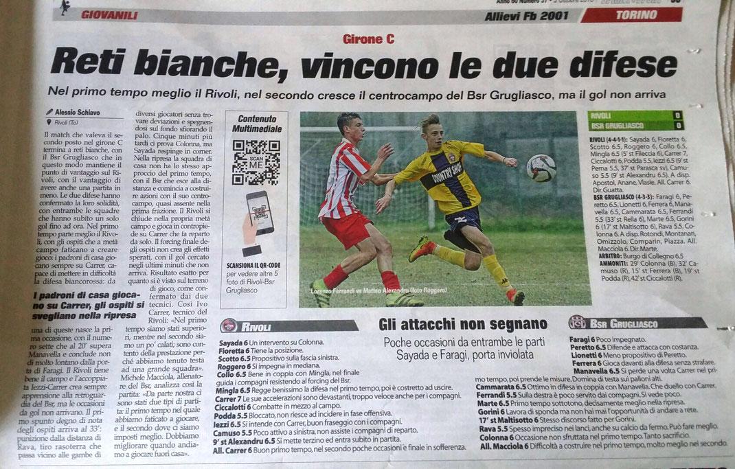Allievi Fb 2001, 0-0 contro il Bsr Grugliasco