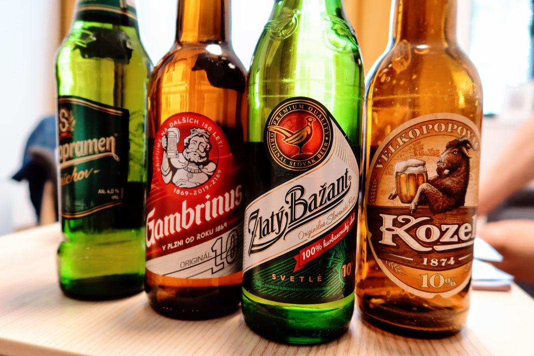 Eine Auswahl tschechischer und slowakischer Biere
