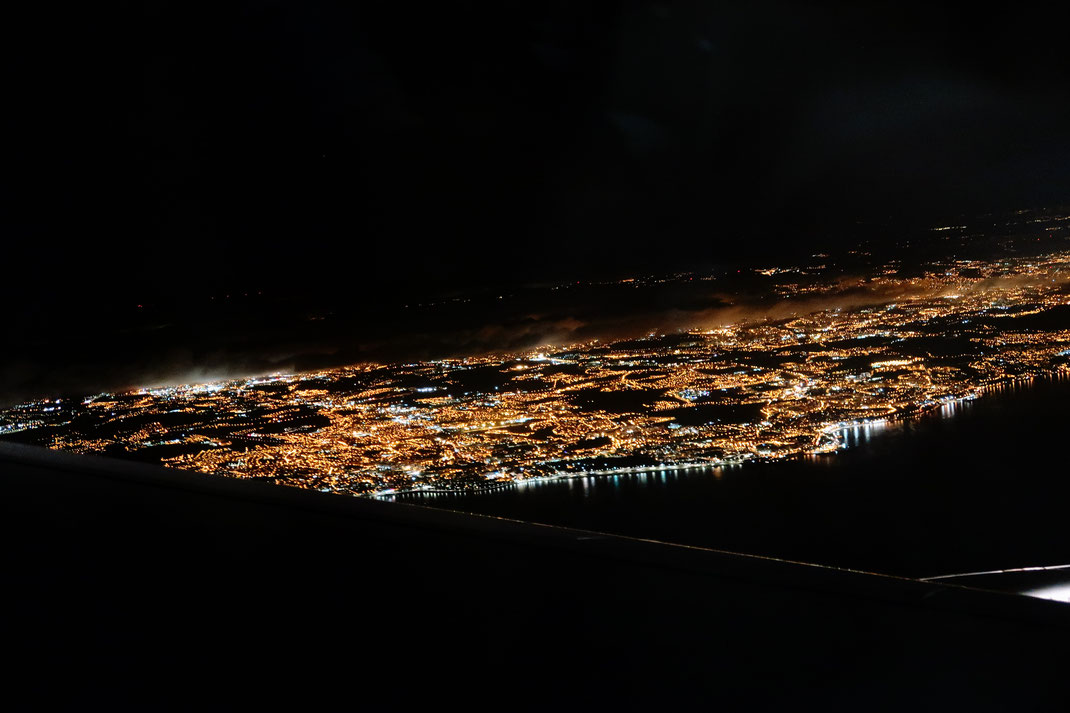 spätabendlicher Landeanflug auf Lissabon
