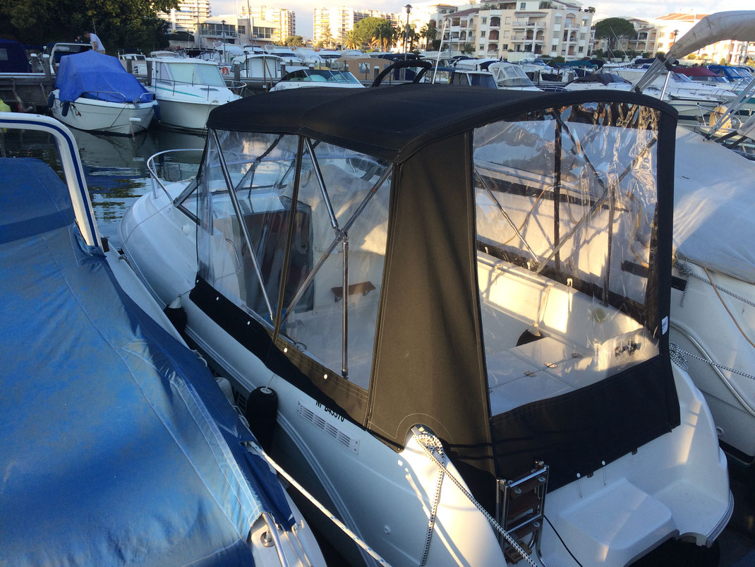 Kit camping fermeture cockpit sellerie marine nautique sellier alpes-maritimes 06 réparation fabrication taud