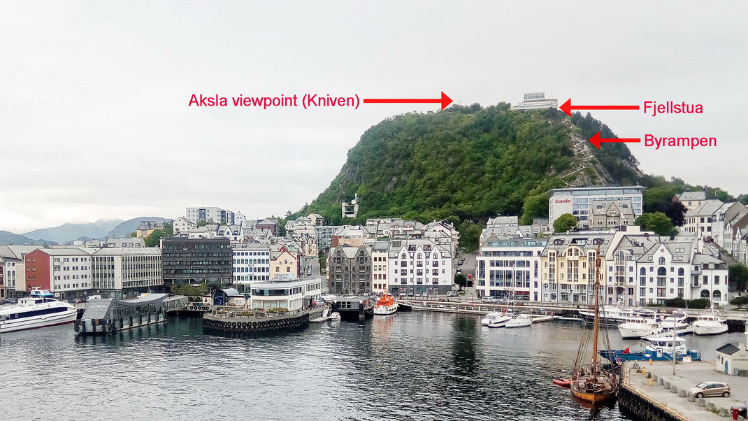 Photo with arrows show the three viewpoints seen from Ålesund harbour