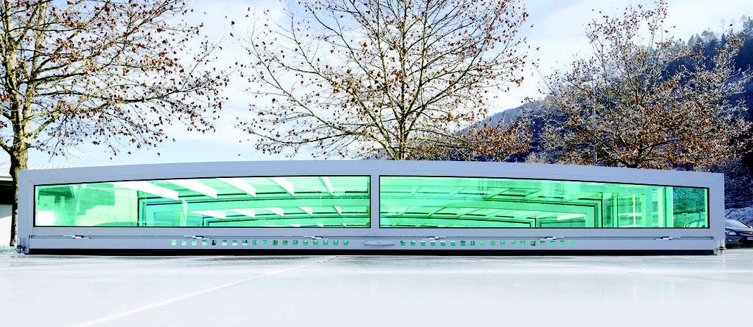 Detailaufnahme der  Poolüberdachung Aura ST4G mit Dichtlippe mit Frischluftregler