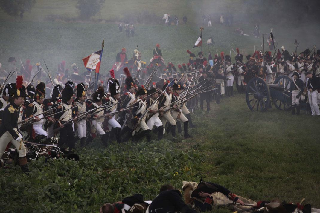 Jena 2016 Jena_2016 Angriff der Franzosen Linieninfanterie Linientaktic 1813 Leipzig 1813 Völkerschalcht Völkerschlacht_1813 Artillerie Kanone Kanonen Feuer Pulver Salve