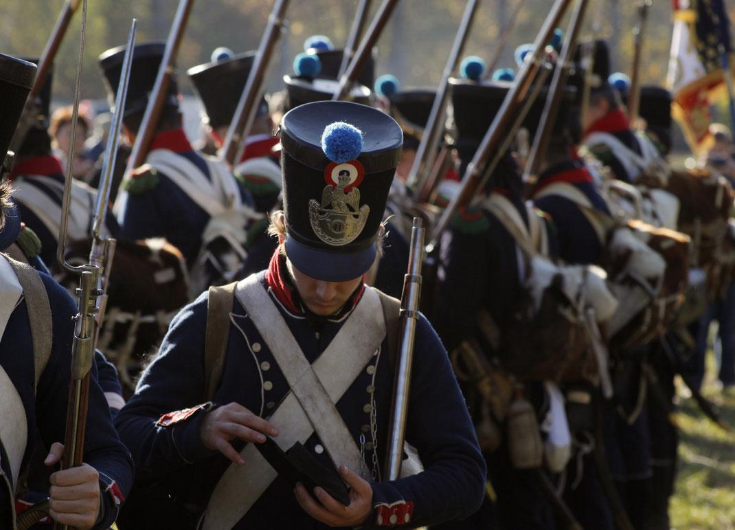 1813 Leipzig 1813 Völkerschalcht Völkerschlacht_1813 Infanterie 11 RdL 11eme Regiment Ligne 11eme_Regiment_de_Ligne Artillerie Kanone Kanonen Feuer Pulver Salve