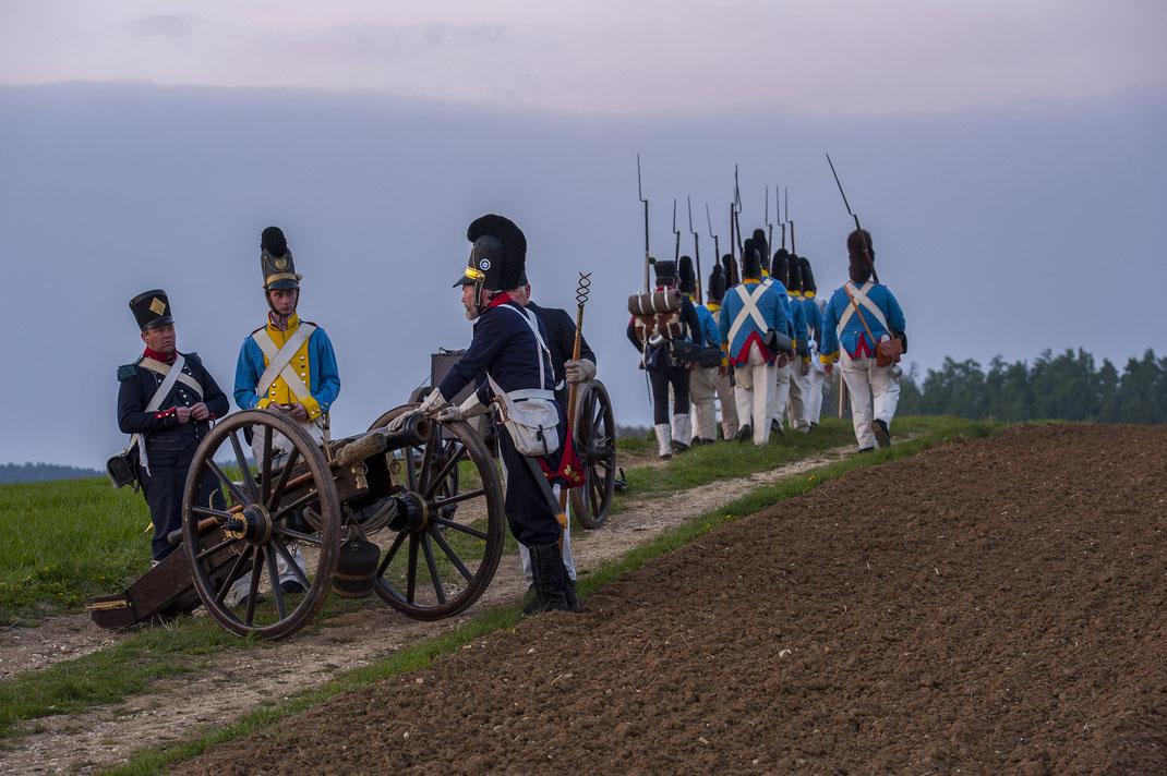 Exerzieren Exercieren Kanone Artillerie Infanterie Eggmühl 1809 Schlacht Schierling Foto Hetzer bayerische Infanterie
