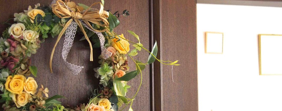 プリザーブドフラワー,リース,壁掛け,結婚式贈呈品,花祝電,電報