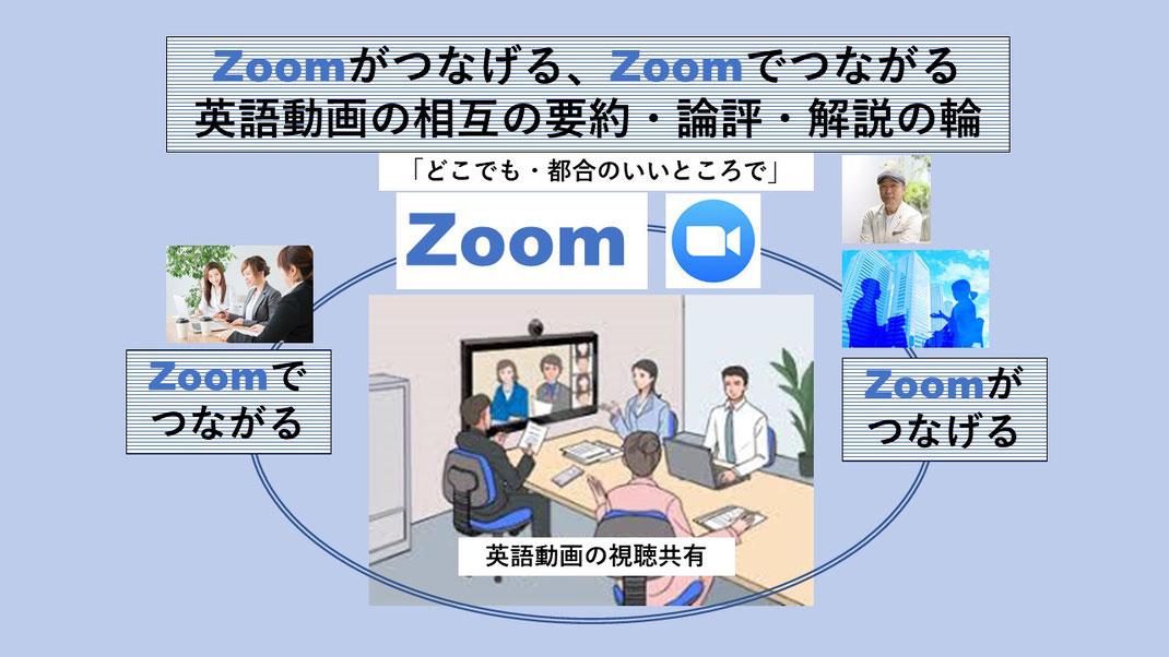 ZOOMがつなげる、ZOOMがつなげる英語動画の要約・論評・解説の輪