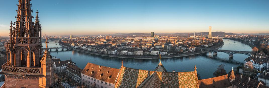 Georgsturm, Martinsturm, Basler Münster, Panorama, Rhein, nächtliche Turmbesteigung, Sonnenuntergang