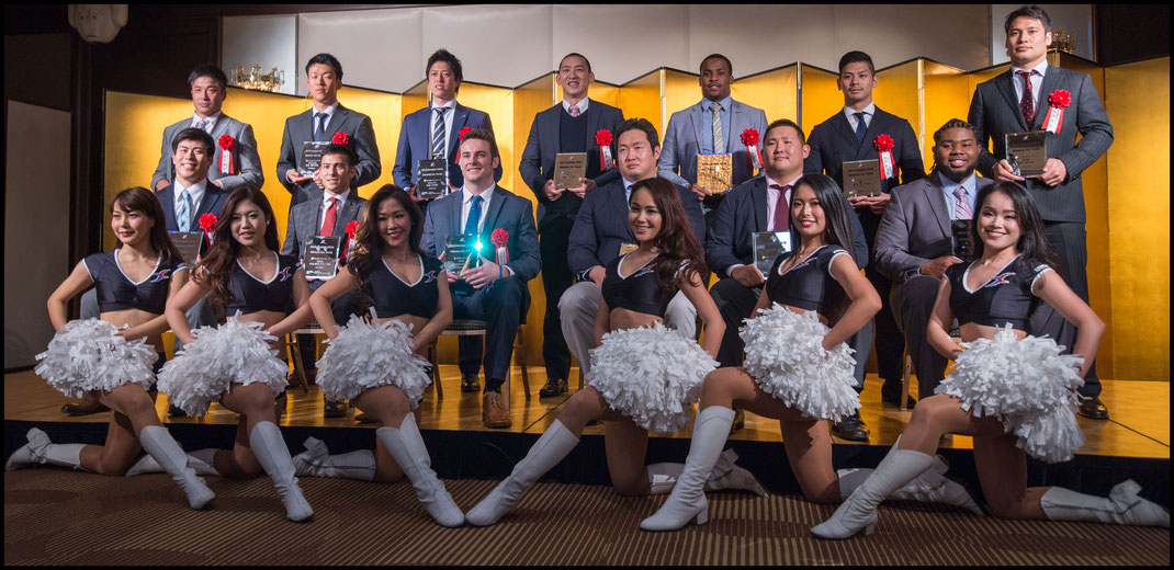 2016 All-XLeague Team Members Pose at a Tokyo Hotel on Jan 28th 2017 - John Gunning (Inside Sport: Japan)