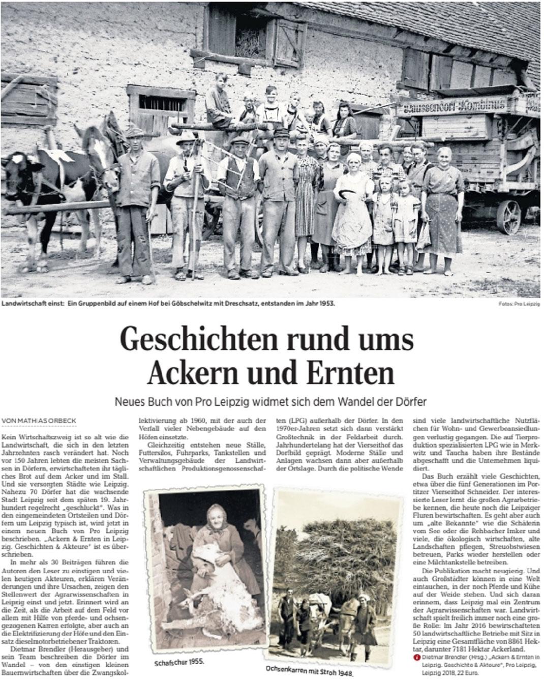 LVZ-Artikel zum Pro-Leipzig-Buch Ackern und Ernten vom 8. Mai 2018
