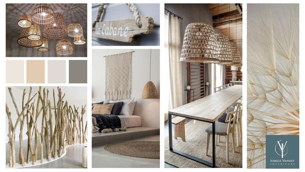Planche de style Nature avec éléments naturels: bois flotté, luminaires et tapis en fibres tressées, suspension bohème en macramé, grande table conviviale en planches et métal,