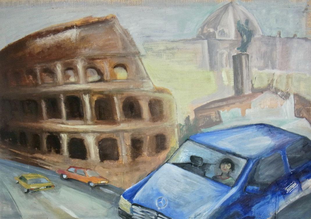 MERCEDES TEMPO in Rom; Mischtechnik und Öl auf Pappe, 100cm x 85cm; 1996