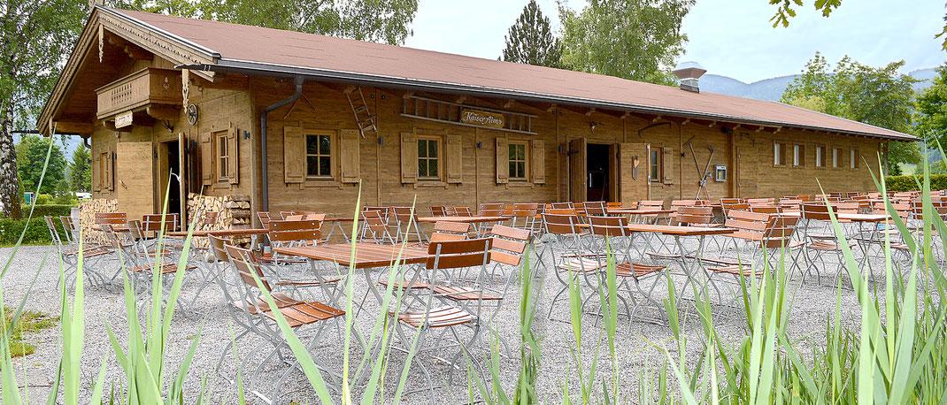 Gemütlicher Biergarten Kaiser Camping in Bad Feilnbach