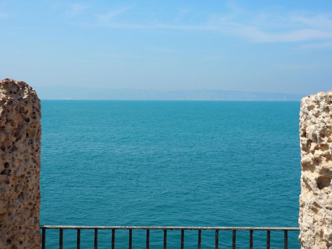 El Monte Carmelo desde Akko y la bahía de Haifa.