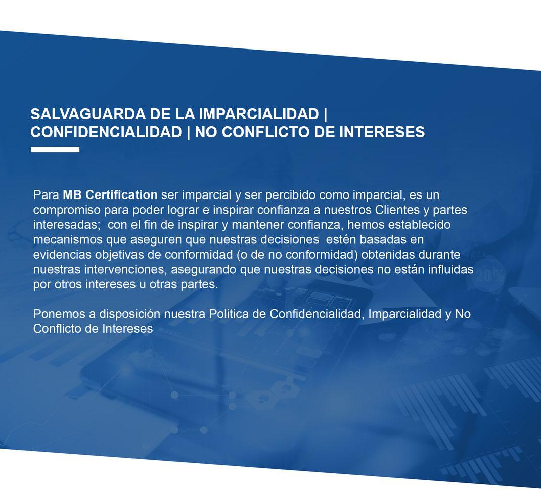 Políticas de MB Certification Mexico S. C. Imparcialidad, objetividad, confidencialidad y de no conflicto de intereses