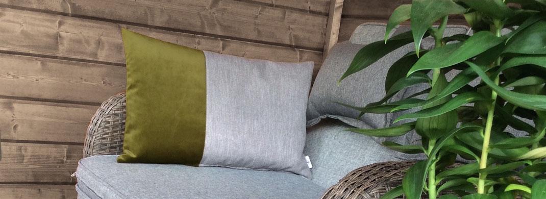 grün-graues Kissen für Chill-Lounge oder Balkon
