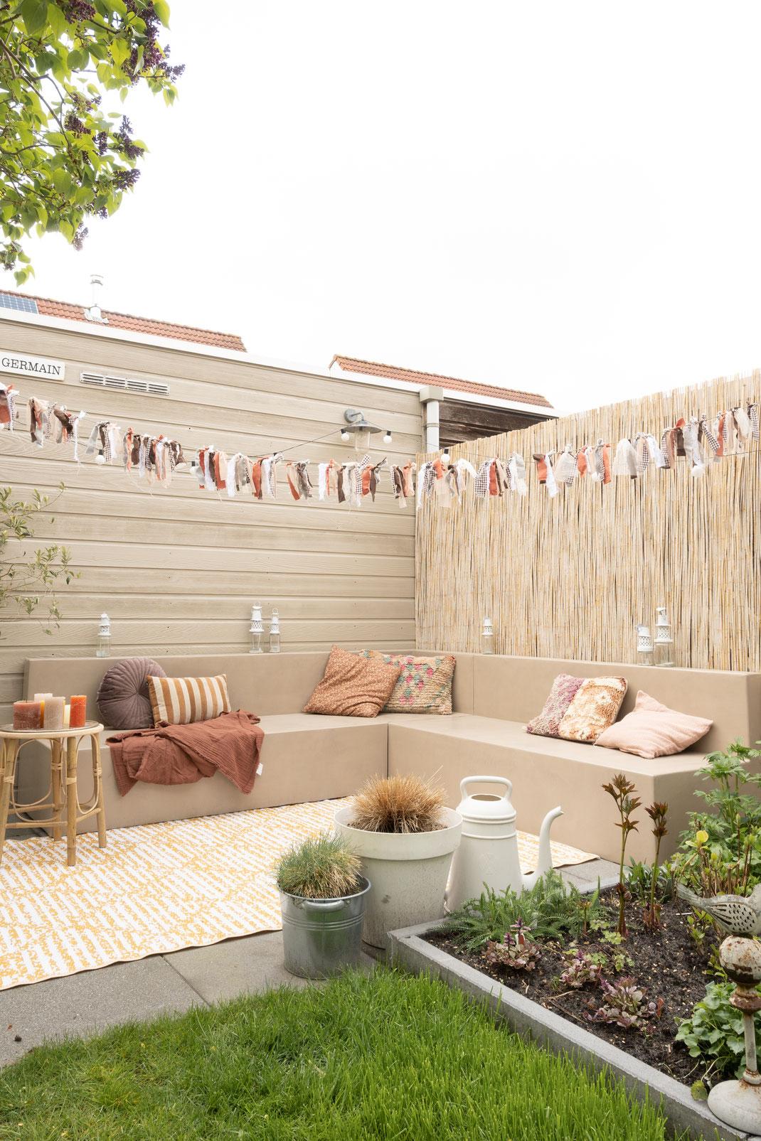 Beton cire tuinbank zand DIY