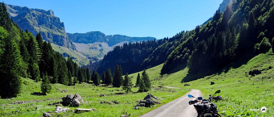 Motorradlenkner, schmale Teerstrasse, grüne Wiesen, Tal, Wald, Felsen und Berge, blauer Himmel