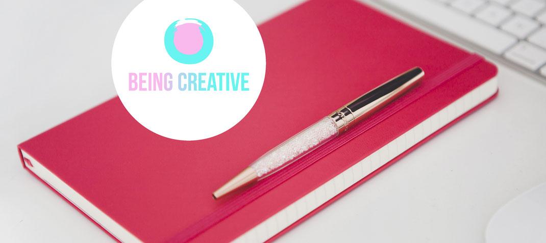 Katharina steiner, Kreativität, Workshop, being creative, Notitzblock, pink, Stift