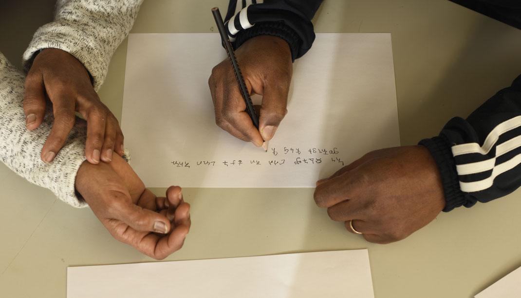 Bleistifte, schreiben, ornamental, Landessprache, Eritrea