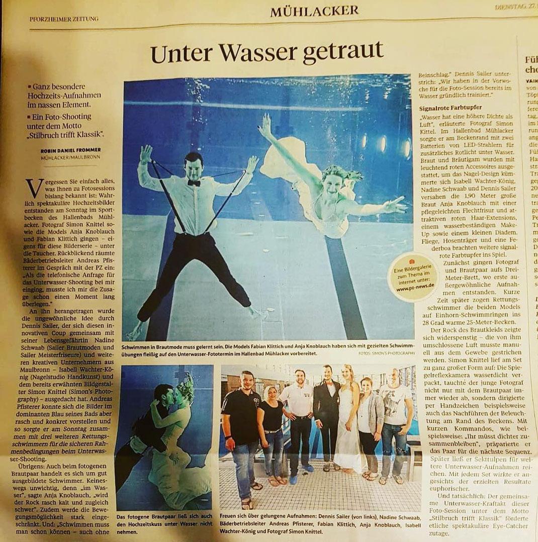Unter Wasser Shooting under water underwater unterwasser simon knittel fotografie fotograf Maulbronn Mühlacker Sailer Sailerbrautmode brautmode Foto wedding