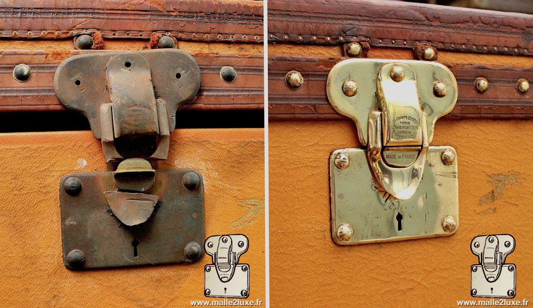 lock brass vuitton trunk restore