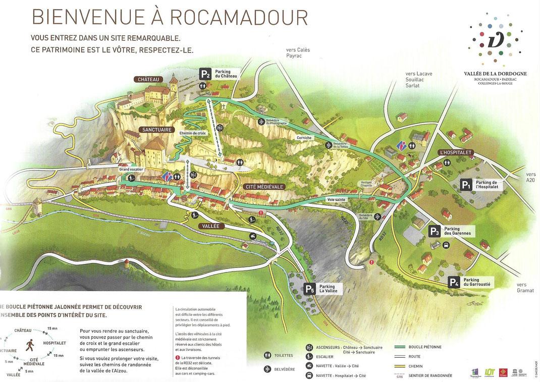 Plan de Rocamadour fourni par l'office de tourisme