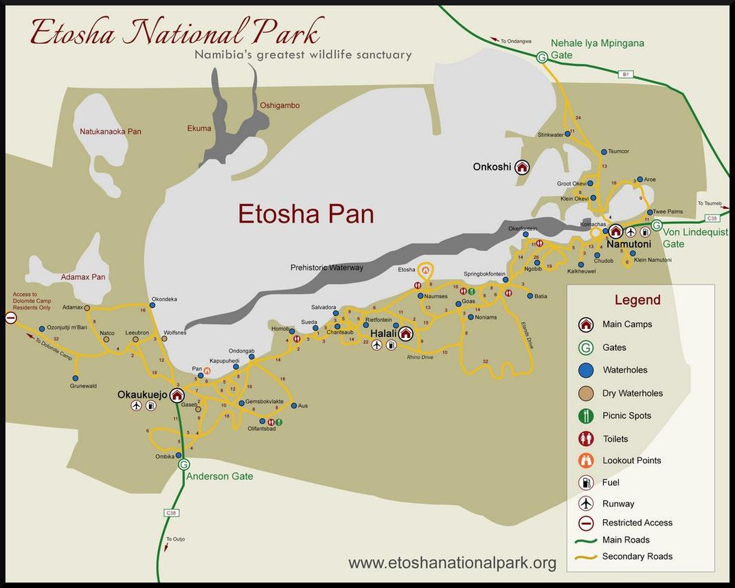 Carte tirée du site officiel du parc  https://www.etoshanationalpark.org/fr/map