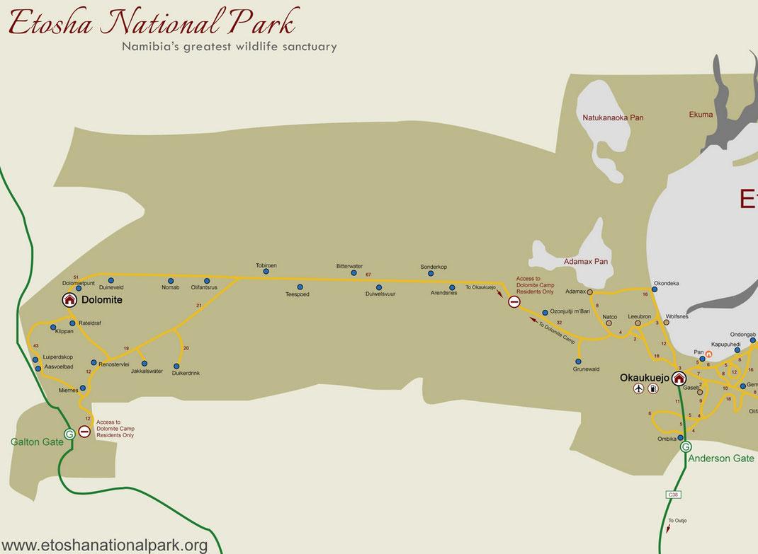 Carte tirée du site officiel du parc : https://www.etoshanationalpark.org/fr/map