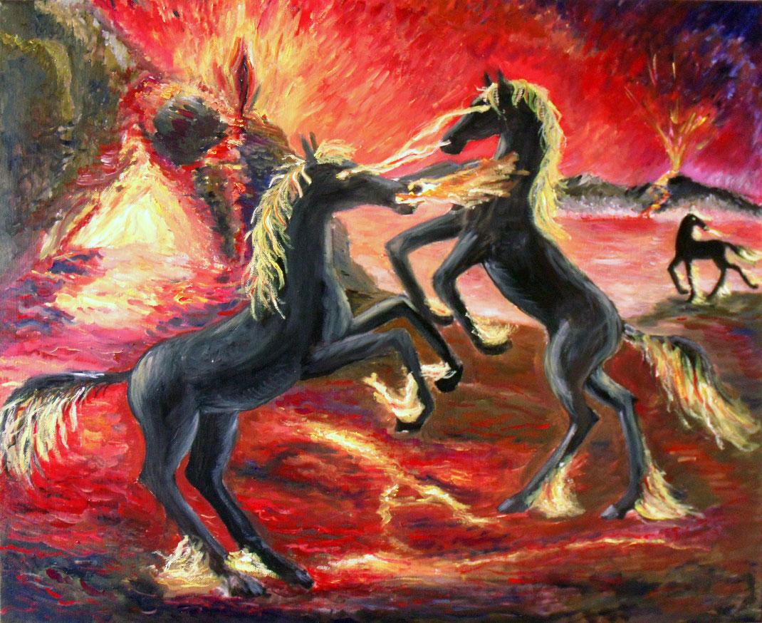 Höllenpferde am Tor zur Unterwelt / Darkside of World 2013 (Ölmalerei auf Leinwand)