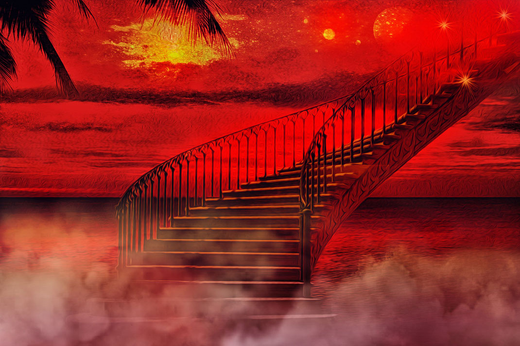 Himmelsleiter über dem Wasser unter glutrotem Himmel. Die Leiter führt in die Weiten des Alls in die Unendlichkeit Fotos kostenlos und lizensfrei downloaden bei www.mjpics.de