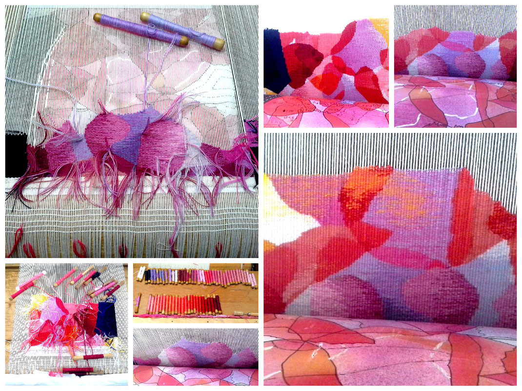 Sylvie Lander-peinture-lumiere--vitrail-tapisserie-Aubusson-fleurs-pétales de roses-couleur