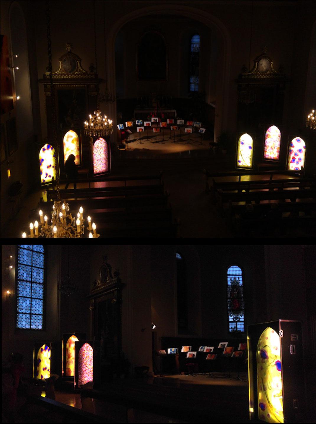 Sylvie Lander, vitraux, light cases, Orschwiller, lumière, couleurs