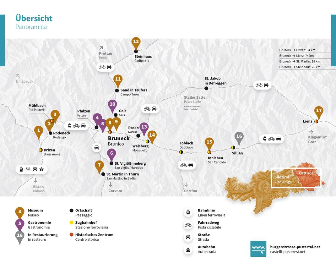 Burgenkarte Burgenstraße Pustertal Südtirol Übersicht