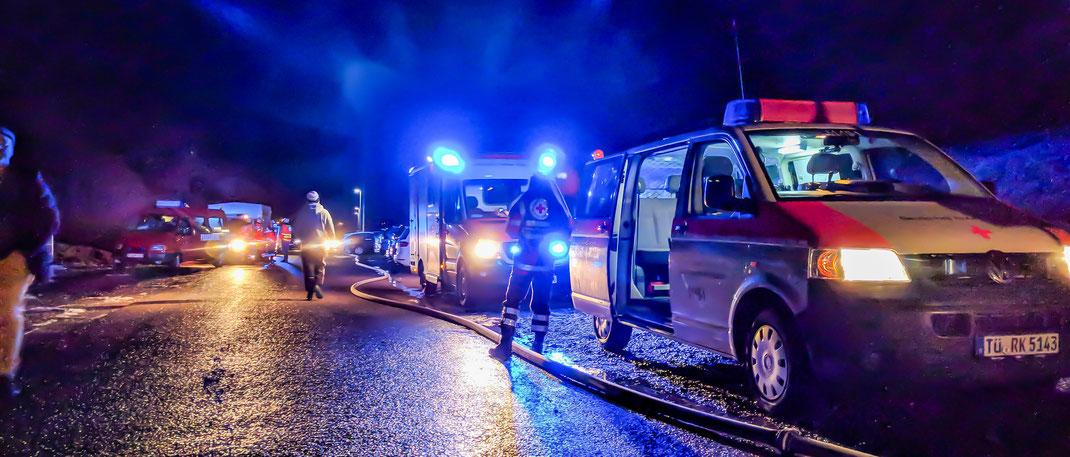 Einsatz des DRK OV Ammerbuch mit dem Rettungsdienst bei einem Feuerwehreinsatz
