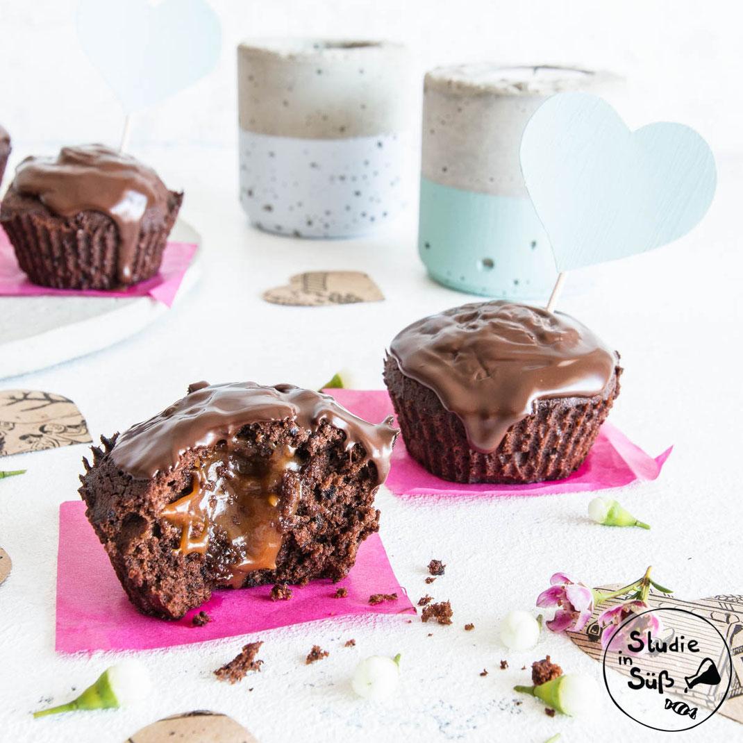 Rezept für Schokoladenmuffins mit flüssigem Kern aus Karamell