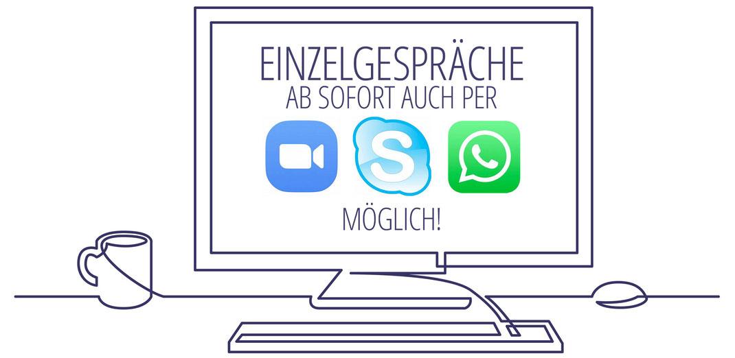 Einzelgespräche mit Christa Saitz auch per Zoom, Skype und WhatsAPP möglich!