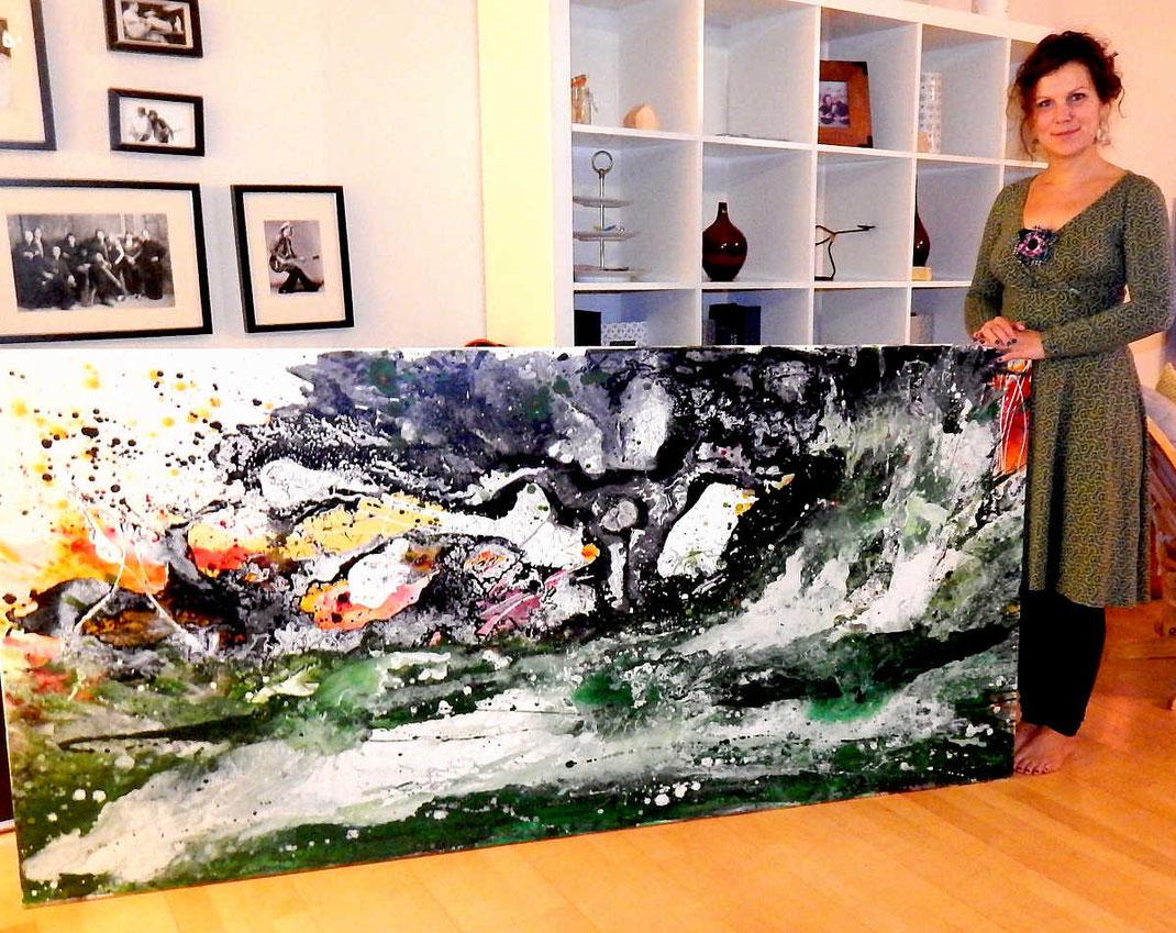 abstrakte Malerei Kunst kaufen - großes Format grün schwarz weiß