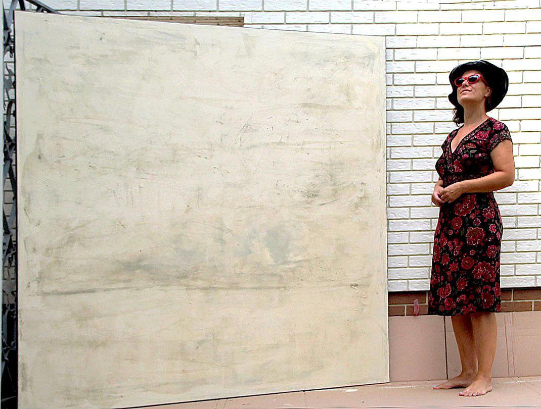 kunst beige 180 x 180 cm - Titel: Weite