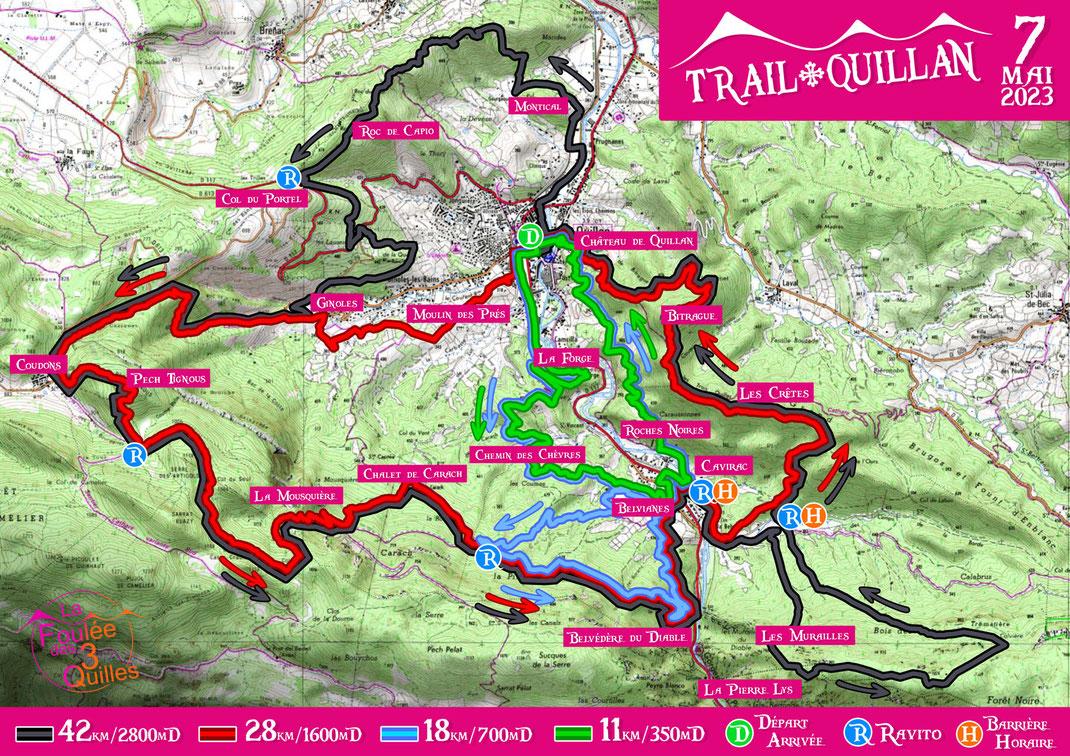 Trail Quillan - Plan des parcours