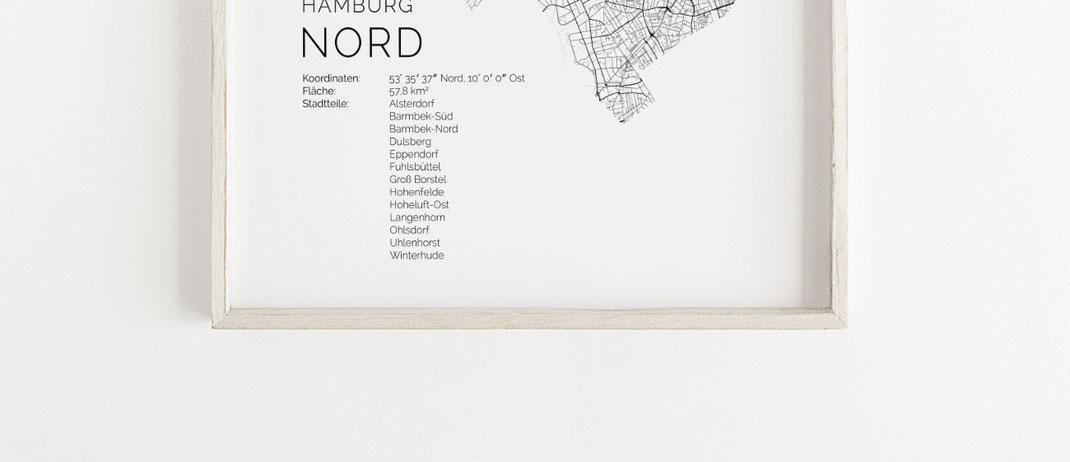 Hamburg Nord Poster Karte Map