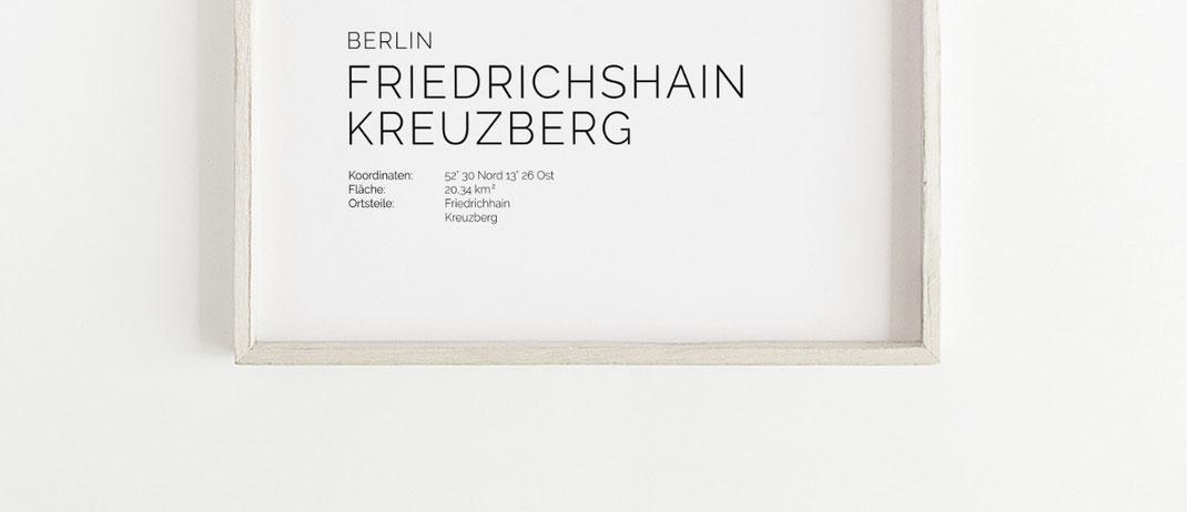 Berlin Friedrichshain Kreuzberg Karte Poster Map Print
